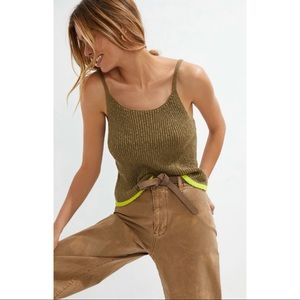 Anthropologie Pilcro Easy Knit Tank Sweater Top Olive Green Medium New